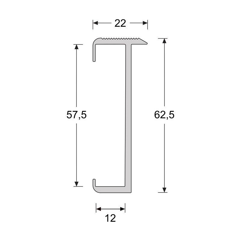 Trapproffiel  60 mm tbv laminaat 7-9,5 mm RVS look geborsteld