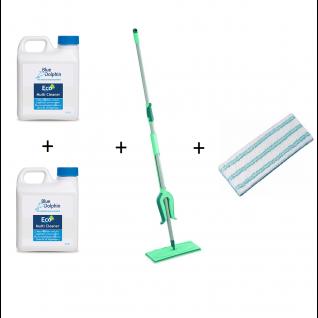 Leifheit Picobello M vloerwisser 33 cm, 2 stuks Blue Dolphin Multi Cleaner en 2 stuks Micro Duo Doek
